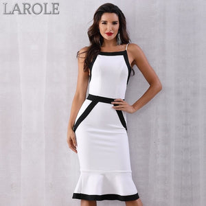 White and Black Colorblock Sexy Spaghetti Strap Mermaid Midi Evening Party Dresses