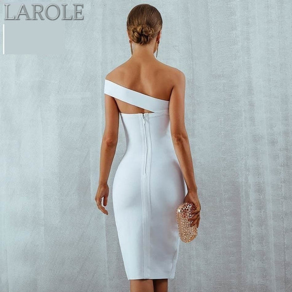 Summer Sexy Elegant  One Shoulder White Midi Celebrity Party Dresses - More Colors Are Available