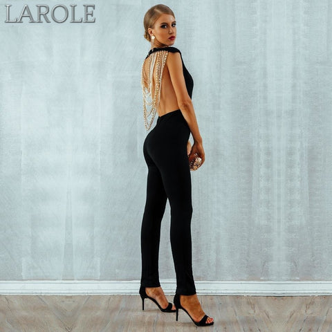 Elegant Backless Sleeveless Beads Chain Black Jumpsuits - Available in More Colors