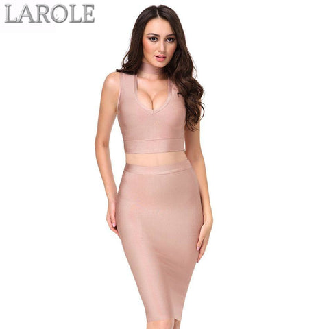Edgy Sexy Deep V neck 2 Two-pieces Set Bandage Dresses-   Available in Multiple colors