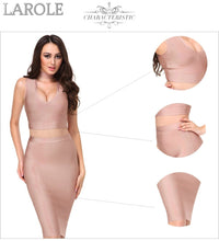 Load image into Gallery viewer, Edgy Sexy Deep V neck 2 Two-pieces Set Bandage Dresses-   Available in Multiple colors