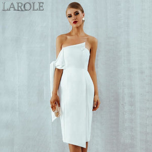 White One Shoulder Elegant Button Tassels Dresses - More Colors Available