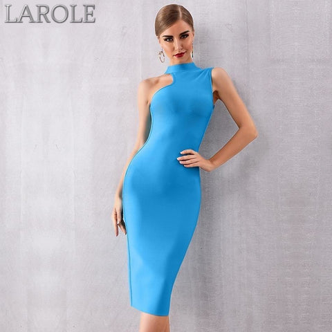 Elegant Blue Tank Sexy Sleeveless Bodycon Cocktail Midi Dress
