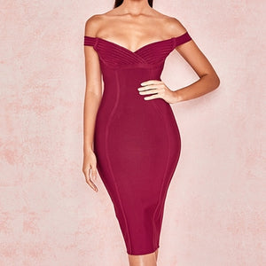 Sexy Short Sleeve Off Shoulder Midi Club Dress Women Celebrity Party  Bandage Dresses