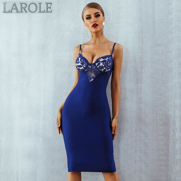 Sleeveless Lace Hollow Out Club Royal BlueMidi  Party Dress  - Available in more colors
