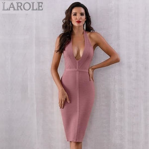 New Sassy Halter Deep V Sleeveless Bodycon Midi dress-  More Colors Available
