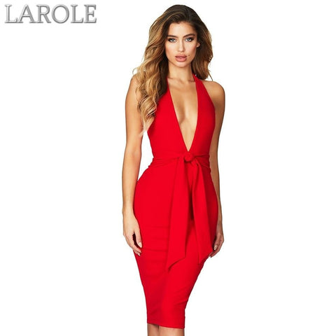 Sexy Sleeveless Halter Backless Lace Up Deep V -Neck Celebrity Evening Party Dress - Available in Multiple colors