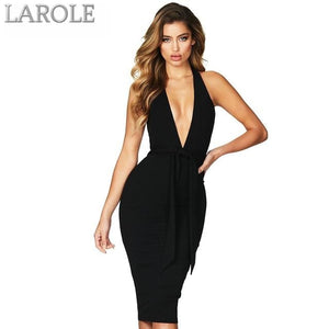 Sleeveless Halter Backless Lace Up Deep V -Neck Celebrity Evening Party Dress  - Available in more colors