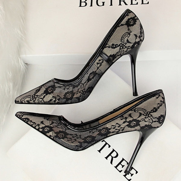 Lace  Pointed Toe Women high heels Stiletto