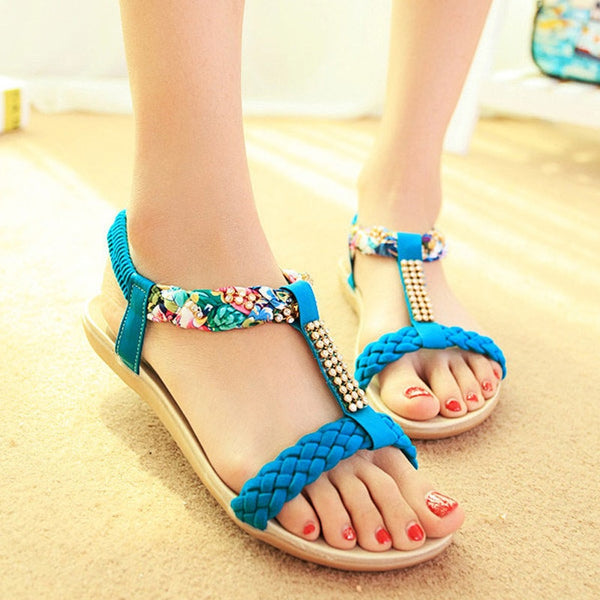 Black  Bohemian Flat Sandals- More color option available