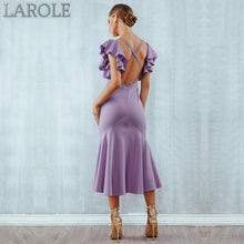 Load image into Gallery viewer, Violet Green Ruffles Butterfly Sleeveless Backless Mermaid Dresses