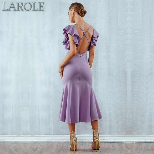 Violet  Ruffles Butterfly Sleeveless Backless Mermaid Dresses