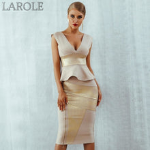 Load image into Gallery viewer, Gold & Beige Ruffles Celebrity Bodycon Set Midi Bandage Dress