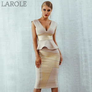 Gold & Beige Ruffles Celebrity Bodycon Set Midi Bandage Dress