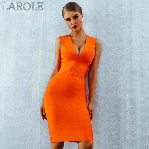 Sleeveless  Deep V-Neck Orange Bodycon Bandage Midi Dress - More Colors Available