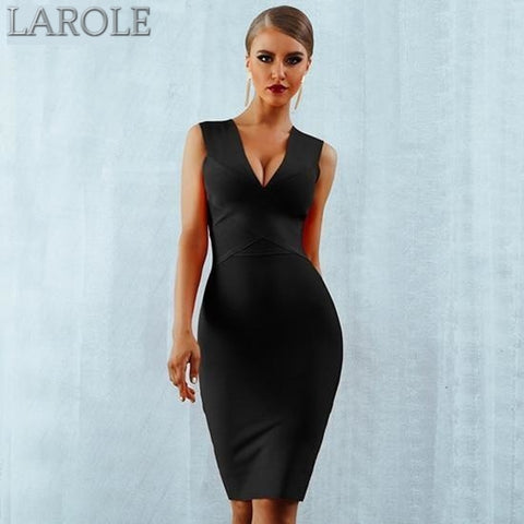 Sleeveless  Deep V-Neck Black Bodycon Bandage Midi Dress - More Colors Available