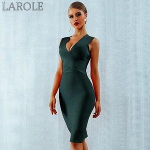 Sleeveless  Deep V-Neck Green  Bodycon Bandage Midi Dress - More Colors Available