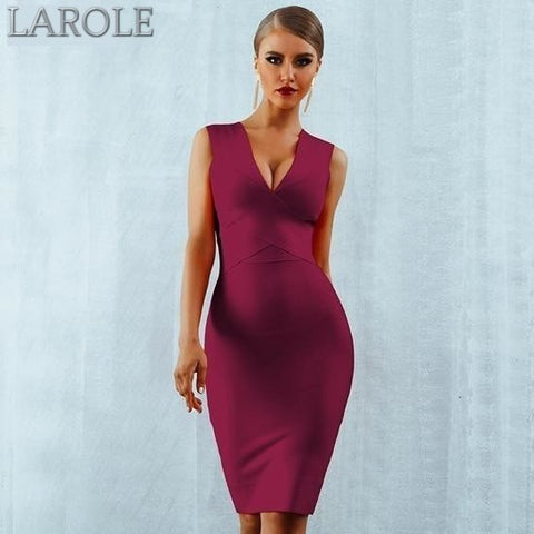 Sleeveless  Deep V-Neck Wine Red Bodycon Bandage Midi Dress - More Colors Available