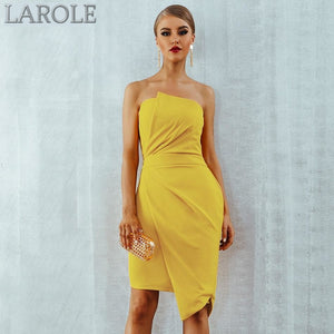 Sleeveless Strapless Elegant Yellow Bandage Dress- Available in More color