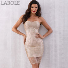 Load image into Gallery viewer, Sexy Gold Sequined Strapless Club Midi Runway Celebrity Party Dresses