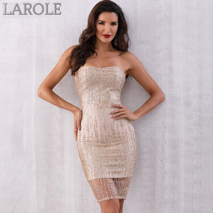Gold  Sequined Strapless Club Dress Midi Runway Celebrity Party Dresses