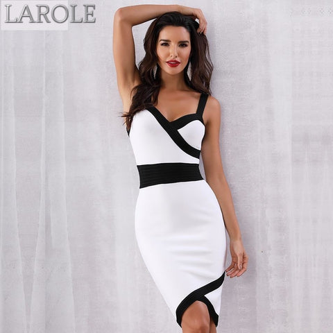 Sexy Black White Spaghetti Strap Midi Bodycon Club Dresses