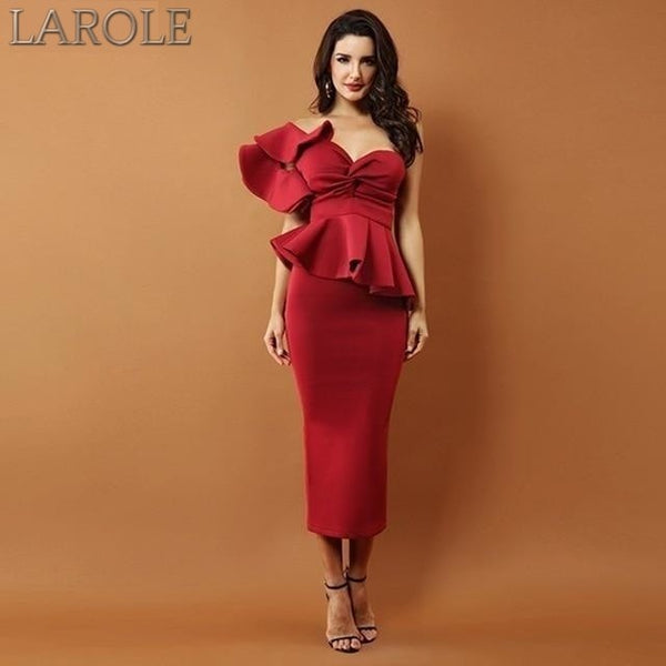 Elegant Res Bodycon Sets One Shoulder Ruffles Short Sleeve Strapless Club Dress- More Colors Available