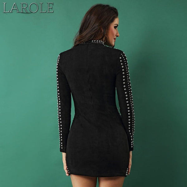 Mini Black Turtleneck Long Sleeve Beading Evening Party Dress