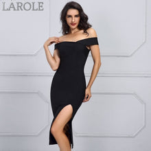 Load image into Gallery viewer, Black Sexy Off Shoulder Bodycon Dress with leg slip- More Colors Available