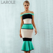 Load image into Gallery viewer, Sleeveless Colorblock  Off the Shoulder Celebrity Evening Midi Dresses