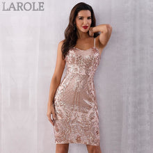 Load image into Gallery viewer, Midi Sequin Backless Deep V Neck Spaghetti Strap Club Dresses