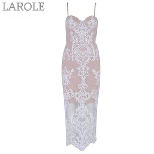 Elegant Spaghetti Strap Nude Lace Bodycon Maxi Dress