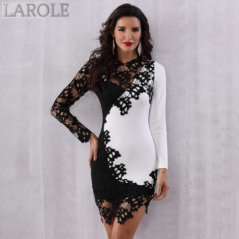 Elegant Sexy Long Sleeve Lace Hollow Out Mini Black & white Dress