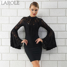Load image into Gallery viewer, Elegant Flare Long Sleeve Black Lace  Contrast Black Bandage Dress