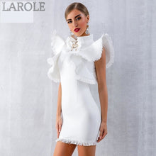 Load image into Gallery viewer, Ruffles Tassel White Mini Bodycon Club Dress - More Colors Available