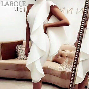 Sleeveless Patchwork Ruffles Edgy Bodycon Midi Bandage Dresses  - Available in more colors