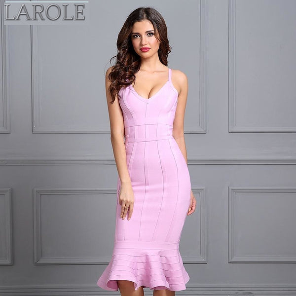 Pink Spaghetti Strap Mermaid  Midi  Evening Bandage Dress - More Colors Available