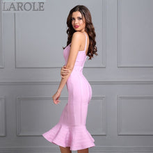 Load image into Gallery viewer, Pink Spaghetti Strap Mermaid  Midi  Evening Bandage Dress - More Colors Available