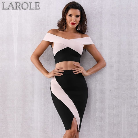 Off the Shoulder Top and High Waist Bandage skirt 2 Two pieces Set