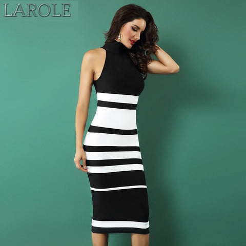 Black and White Striped Bodycon Midi Dress - Available in More Colors