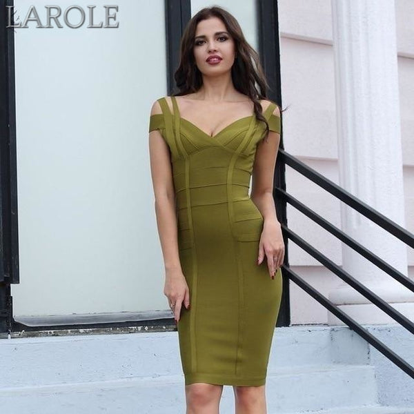 Sasha Off Shoulder Celebrity Party Midi Dress - More colors are Available