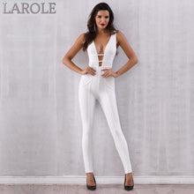 Load image into Gallery viewer, Sleeveless Deep V Hollow Out White Party Jumpsuits