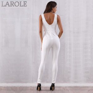 Sleeveless Deep V Hollow Out White Party Jumpsuits