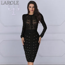 Load image into Gallery viewer, Edgy Sexy  Long Sleeve Bodycon Midi Dresses- More Colors Available