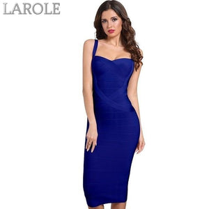 Backless Celebrity Blue Bodycon Party Midi Bandage Dress - Available in multiple colors