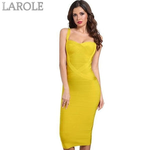 Backless Celebrity Yellow Bodycon Party Midi Bandage Dress - Available in multiple colors