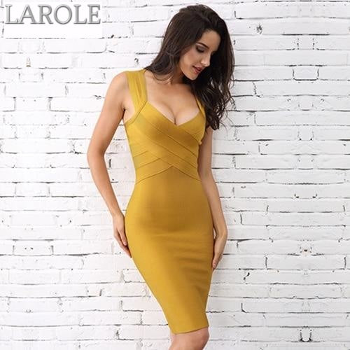 Sleeveless V Neck Night Out Yellow  Dress - Available in More Colors