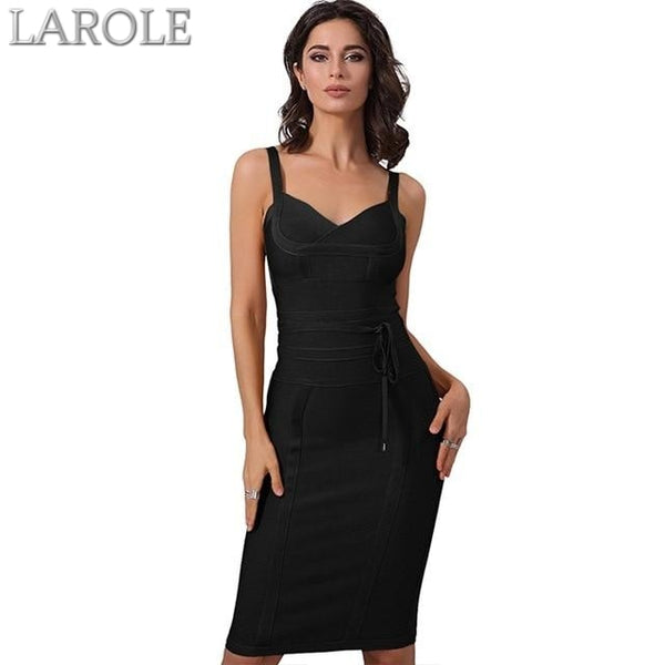 Black Spaghetti Strap Bodycon Bandage Dress- Available in more colors