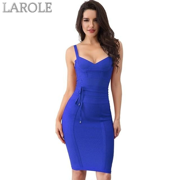 Blue Spaghetti Strap Bodycon Bandage Dress- Available in more colors