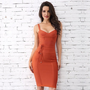 Spaghetti Strap Bodycon Bandage Dress- Available in more colors